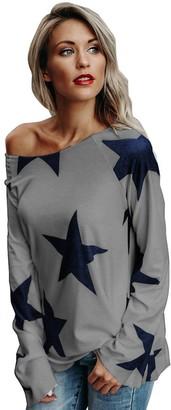 Tuduz Blouse Women's Blouse TUDUZ Women Girl Off Shoulder Star Print Long Sleeve T-Shirt Spring Autumn Casual Pullover Tops(Navy UK-12/CN-S)