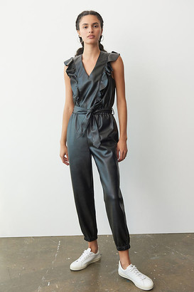 Blank NYC Tressa Faux Leather Jumpsuit By in Black Size S