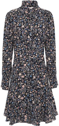 Rebecca Taylor Ruffle-trimmed Floral-print Silk-cady Mini Shirt Dress