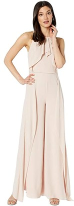 Halston Sleeveless High Neck Flowy Drape Front Jumpsuit (Bloom 1) Women's Jumpsuit & Rompers One Piece