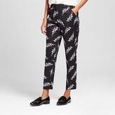 Women's Printed Curvy Classic Ankle Pant Black Leaf - Merona