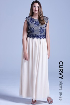 Little Mistress Curvy Curvy Cream and Navy Lace Overlay Maxi Dress