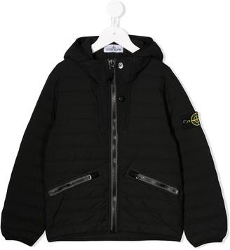 Stone Island Junior Hooded Padded Raincoat