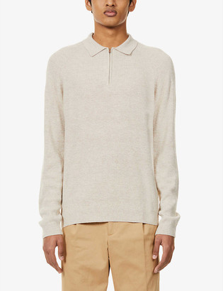 Reiss Aston zipped-neck stretch-woven jumper