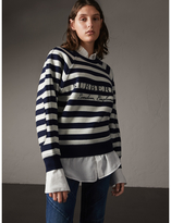 Burberry Breton Stripe Wool Cashmere Blend Sweater