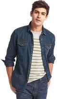 Gap 1969 Denim Two-Tone Slim Fit Western Shirt