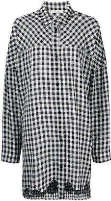 Philosophy di Lorenzo Serafini Lace-Trimmed Gingham Shirt Dress