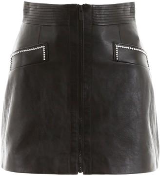 Miu Miu Embellished Leather Mini Skirt