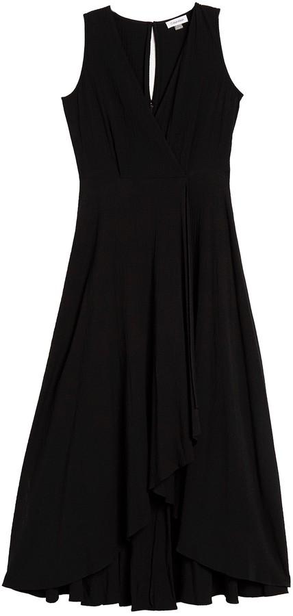 Calvin Klein Solid Faux Wrap High/Low Maxi Dress