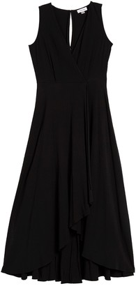 Calvin Klein Solid Faux Wrap High/Low Maxi Dress