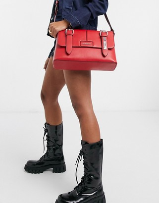 Love Moschino satchel bag with belt buckle detail in red