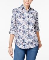 Karen Scott Petite Floral-Print Shirt, Created for Macy's