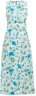 Cult Gaia Gia Leaf Print Linen Midi Dress - Womens - Blue Print