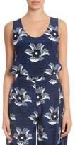 Victoria Beckham Sleeveless Floral-Print Tunic, Navy