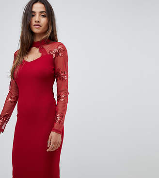 Scarlet Rocks scuba midi dress with sequin sleeve detail in red