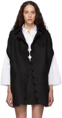 RED Valentino Black Scallop Cape Coat