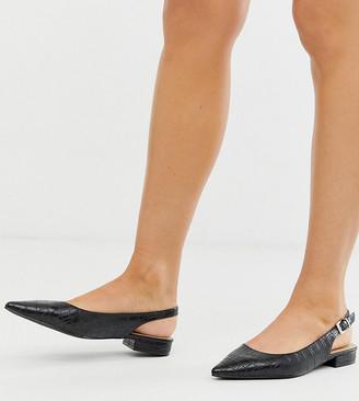 Raid Exclusive Revel black croc effect sling back flat shoes
