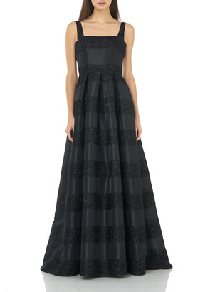 Carmen Marc Valvo Eyelash Striped Square-Neck Sleeveless Gown with Inverted Pleats
