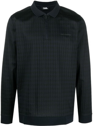 Karl Lagerfeld Paris Houndstooth-Print Logo-Embroidered Polo Shirt