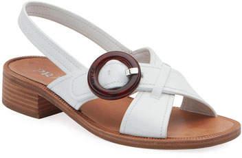 Prada Leather Buckle Flat Sandals
