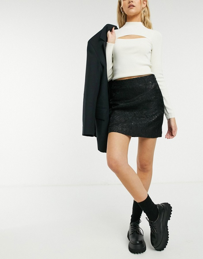 Thumbnail for your product : And other stories & recycled jacquard mini skirt in black