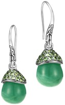 John Hardy Sterling Silver Classic Chain Celestial Brazilian Jade Orb Drop Earrings with Tsavorite