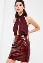 Missguided Petite Exclusive Burgundy Halter Neck Plunge Bodysuit