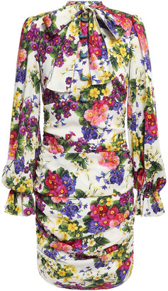 Dolce & Gabbana Pussy-bow Ruched Floral-print Silk-charmeuse Mini Dress