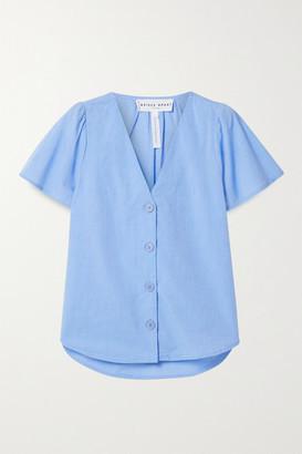 Apiece Apart Dasha Organic Cotton-chambray Blouse - Blue
