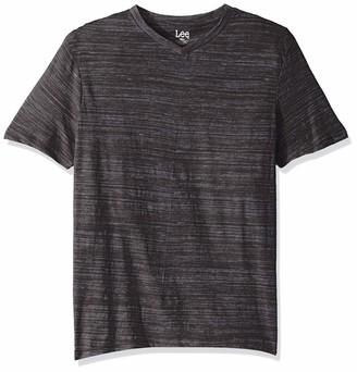 Lee Men's Short Sleeve Casual V Neck T Shirt Regular Big Tall Christian Phantom Large