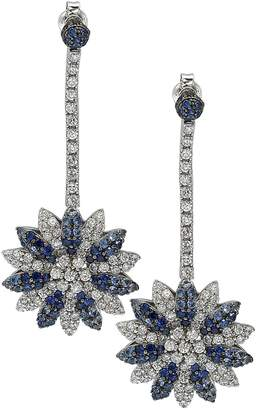 LeVian Sterling Silver Blue Sapphire, Created White Sapphire & Brown Diamond Dangle Earrings