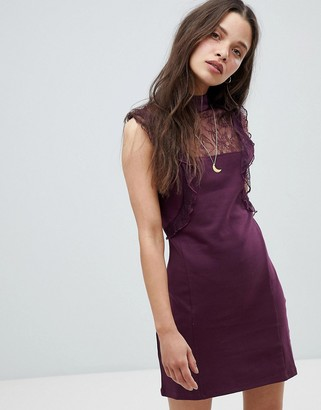 Free People Beaumont Muse Lace Detail Dress-Purple