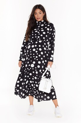 Nasty Gal Womens Dot With Me Plus Midi Dress - black - 18