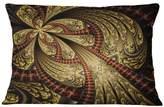 """Design Art Usa Symmetrical Brown Red Fractal Flower Floral Throw Pillow, 12""""x20"""""""