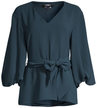 Lafayette 148 New York Astley Puff-Sleeve Belted Blouse