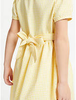 John Lewis School Belted Gingham Checked Summer Dress, Yellow