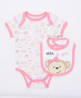 Buster Brown Sachet Pink 'Peek-A-Boo!' Two-Piece Bodysuit & Bib