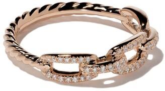 David Yurman 18kt rose gold Stax single row pave diamond chain link ring