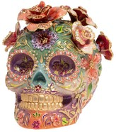 Jay Strongwater Catrina Skull With Roses 14K Yellow Goldplated Stainless Steel & Swarovski Crystal Figurine