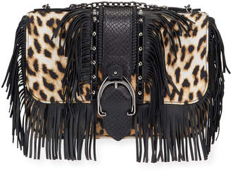 Longchamp Amazone Fringed Leopard Crossbody Bag