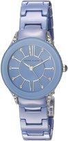Anne Klein Women's AK/2389LBSV Silver-Tone and Light Blue Ceramic Bracelet Watch