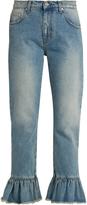 MSGM Ruffled-hem cropped jeans