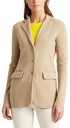 Lauren Ralph Lauren Tubular Trimmed Blazer (Birch Tan) Women's Clothing