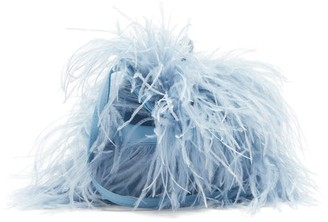 Marques Almeida Feather-trimmed Leather Bag - Light Blue
