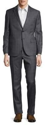 Black & Brown Black Brown Windowpane Wool Suit