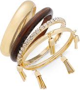 Thalia Sodi Gold-Tone 4-Pc. Set Wood, Crystal & Tassel Bangle Bracelets, Created for Macy's