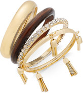 Thalia Sodi Gold-Tone 4-Pc. Set Wood, Crystal & Tassel Bangle Bracelets, Only at Macy's