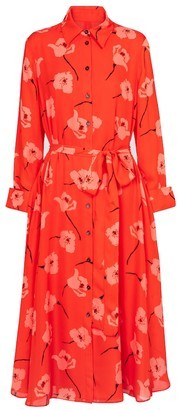 Carolina Herrera Floral silk midi shirt dress