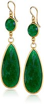 Nashelle Gold-Filled Emerald Long Double-Drop Earrings