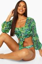 boohoo Tropical Leopard Tie Front Beach Shirt